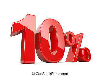 Ten red percent symbol. 10% percentage rate. Special offer discount.