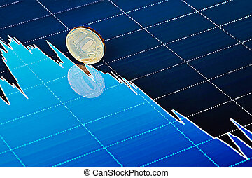 Ten-ruble coin slides down on downtrend chart. Selective focus