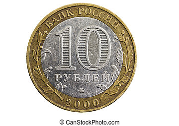 ten Russian rubles isolated