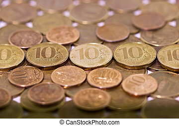 Ten Russian rubles on money background
