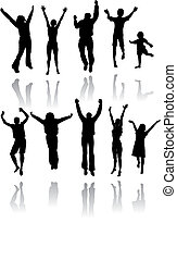 Ten silhouettes of people jumping for joy with reflections...