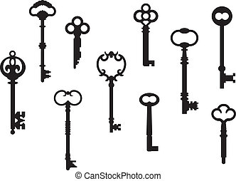 Ten skeleton key silhouettes from real antique keys which were scanned and re-drawn in Adobe Illustrator.