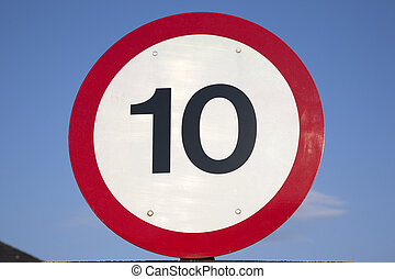 Ten Speed Limit Sign on Blue Sky Background