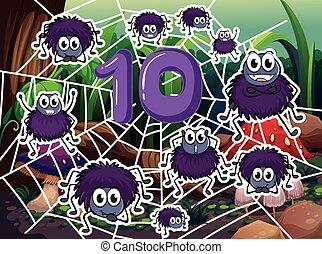 Ten spiders around number ten
