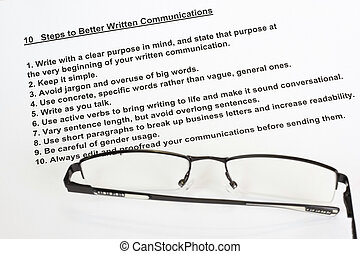 Ten steps to better written communications concept
