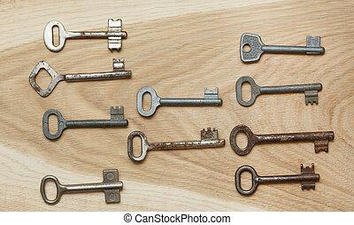 Ten symmetrically arranged keys on a wooden background