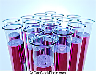 Ten test tubes with pink fluid and shallow DOF - Hi-res...