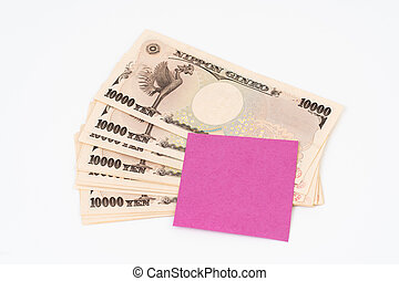 Ten thousand yen banknote with post-it paper