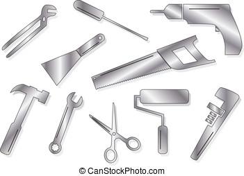 Ten tool shapes - Ten vector tool shapes in gradient shades