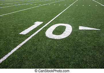 Ten Yard Line - Markings for the ten yard line on an...