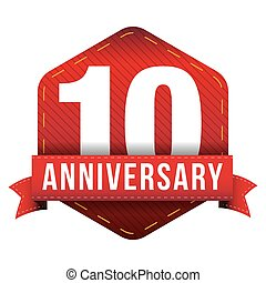 Ten year anniversary badge with red ribbon