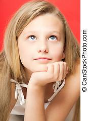 Ten Year Old Girl - Pretty dreamy ten year old girl portrait...