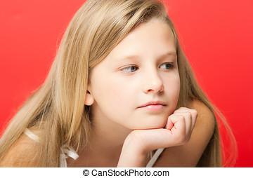 Ten Year Old Girl - Sad pensive ten year old girl portrait...