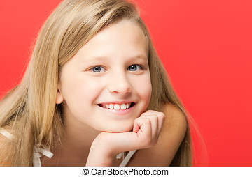 Ten Year Old Girl - Happy smiling ten year old girl portrait...