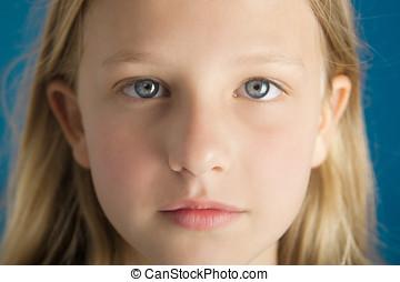 Ten Year Old Girl - Dreamy intense closeup portrait of a...