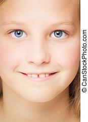 Ten Year Old Girl - Closeup of ten year old happy girl face...