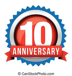 Ten years anniversary badge with red ribbon