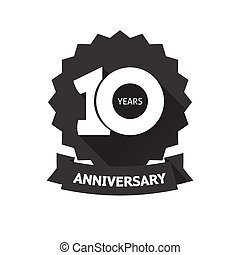 Ten years anniversary sticker vector icon, 10th year birthday label