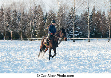 Ten years girl riding a horse in winter