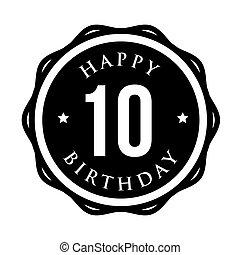 Ten years happy birthday badge ribbon