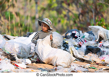 ten, zbieranie, odpadki, umiejscawiać, outskirts, tracić, ...