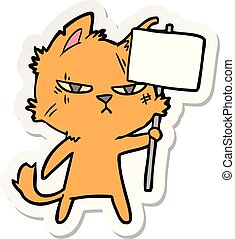 tenace, adesivo, segno, protesta, gatto, cartone animato