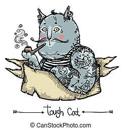 tenace, -, illustrazione, gatto, disegnato, mano