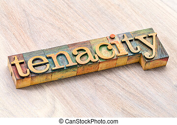 tenacity word abstract in wood type - tenacity word abstract...