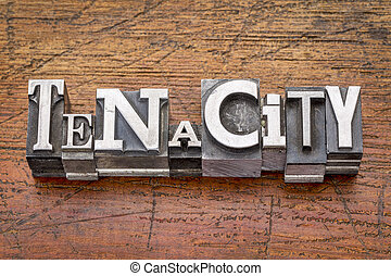 tenacity word in metal type - tenacity word in mixed vintage...