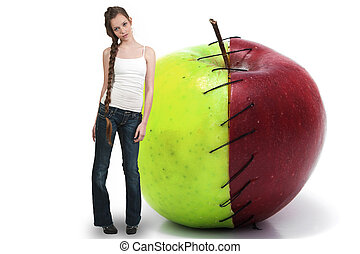 Tenage Woman with Red Delicious Apple with Nutrition Label