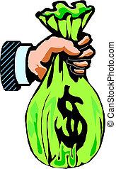tenant argent, dollar, sac, main