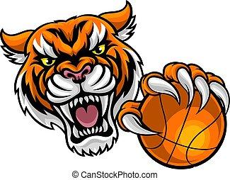 tenant basket-ball, tigre, balle, mascotte