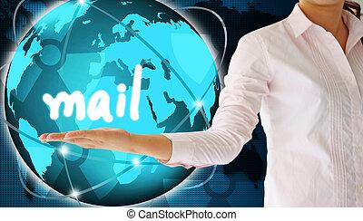 tenant main, créatif, concept, courrier