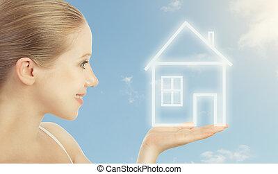tenant main, maison, mortgage., logement, femme, concept