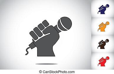 tenant main, mic, humain, microphone