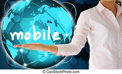 tenant main, mobile, créatif, concept