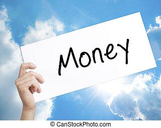 tenant main, papier, fond, isolé, homme, ciel, signe, blanc, text., argent, paper.