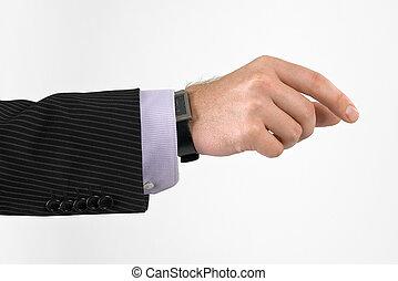 tenant main, quelque chose, homme