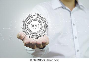 tenant main, social, réseau, homme, business