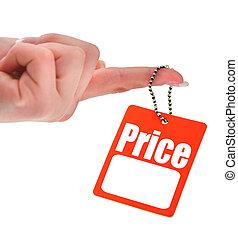 tenant main, vide, étiquette prix