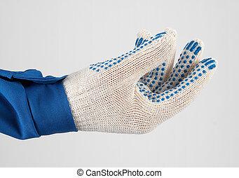 tenant main, worker's, gants, protecteur, quelque chose