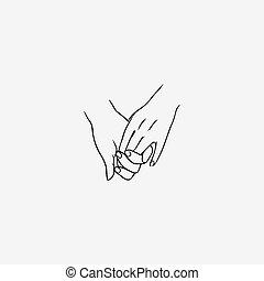 tenant mains, dessiné, par, contour, lignes, isolé, blanc, arrière-plan., signe, de, amour, amitié, soutien, romantique, relation, intimité, togetherness., vecteur, illustration, dans, monochrome, colors.