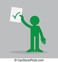 tenant papier, haut, figure, chèque