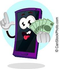 tenant portable, argent, illustration, téléphone, vecteur, fond, blanc, emoji