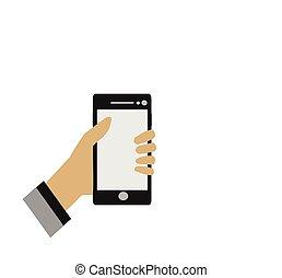 tenant portable, haut, téléphone, fond, mains, fin, blanc