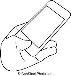 tenant portable, icon., smartphone, téléphone, main