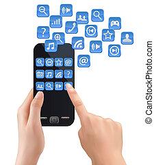 tenant portable, icons., téléphone, vector., mains