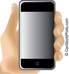 tenant portable, vecteur, téléphone., main