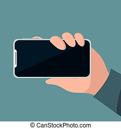 tenant téléphone, cellule, main, sien, personne