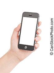 tenant téléphone, mobile, écran, moderne, isolé, main, élevé, arrière-plan., femelle noire, quality., blanc, intelligent, vide